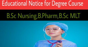 Educational Notice for Degree Course 2019 B.Sc Nursing,B.Pharm,B.Sc MLT