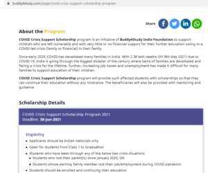 COVID Crisis Support Scholarship